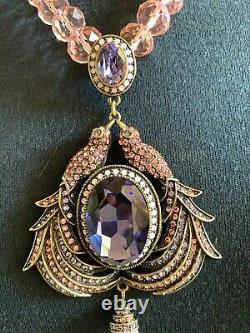 Signed Heidi Daus Pink Raven Crystal Necklace Beautiful Beyond Words Ret $299