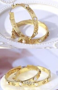 Signed Tory Burch Designer T-Pierced Logo & Pearls Hoop Earrings Gold