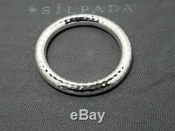 Silpada B1653 Round Thick Hammered Sterling Silver Bangle Bracelet Beautiful