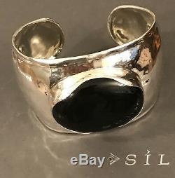 Silpada Cuff Black Oval Chalcedony Bracelet B2043 Sterling Silver Lrg 1.75 Wide