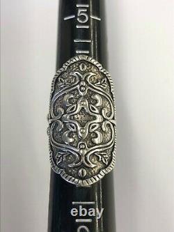 Silpada HELEN OF TROY Shield Oxidized Sterling Silver Ring Size 7 EUC 12.7g