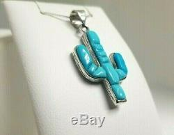 Sleeping Beauty Turquoise/Sterling Silver Cactus Pendant Necklace Reversible