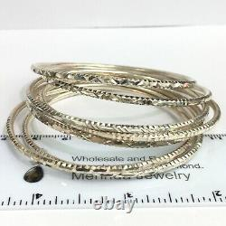 Solid 0.925 Silver Round Bangle 7 Pieces Set 60 mm. Diamond cut