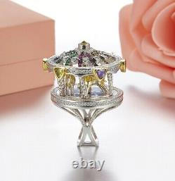 Solid 925 Sterling Silver With Multi Color Gemstone Awesome Carousel Design Ring