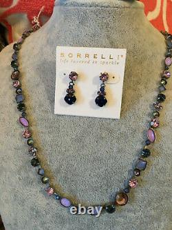 Sorrelli Hydrangea Necklace & Earrings Antique silver tone Set BEAUTIFUL