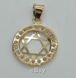 Star of David Religion Pendant 0.20Ct Round Cut Diamond 14k Yellow Gold Finish