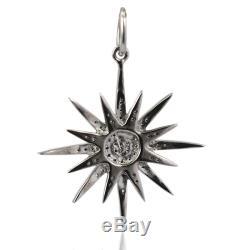 Starburst Pendant 925 Sterling Silver 0.28ct Pave Diamond Women Fashion Jewelry