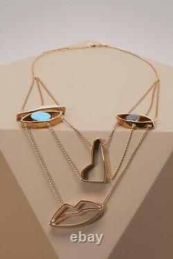 Stella McCartney Beautiful Gold Tone Face Necklace New