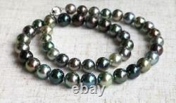 Stunning AAA 10-9 mm Tahitian round multicolor pearl necklace 18 silver clasp