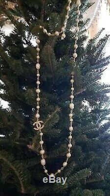 Stunning CHANEL Classic White CC Crystal Rhinestones Chain Necklace NIB