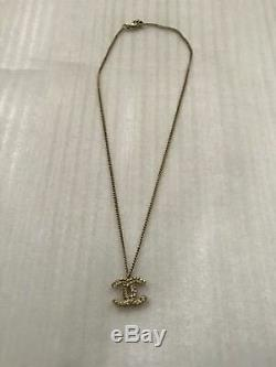 Stunning CHANEL Gold Crystal 3D CC Crystal Rhinestones Chain Strand Necklace