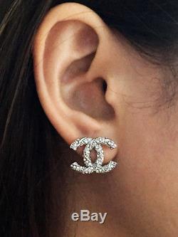 Stunning Chanel Antique Stud Rare Beautiful 18K white gold CC Pierce ear studs