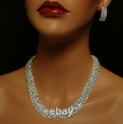 Stunning Chunky Collarette Statement Necklace Set, Sparkle Silver Bridal Bling