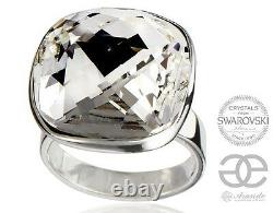 Swarovski Crystals Beautiful Ring Crystal Square Sterling Silver Certificate
