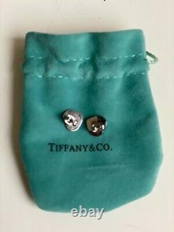 TIFFANY 925 SILVER FLAT HEART EARRINGS'Please Return to T & CO 925