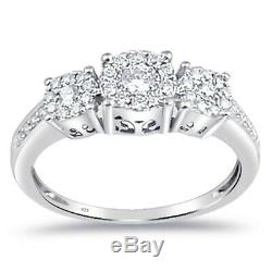 Three Stone Round Cut 1.30Ct Diamond Engagement Wedding Ring 14k White Gold Over