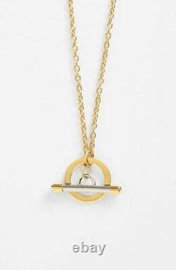 Tory Burch 167155 Womens Toggle Pendant Necklace Shiny Gold/ Tory Silver