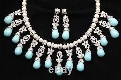 Traditional Cubic Zirconia Designer Aqua Pearl Necklace Earring Set 229