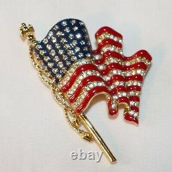 Trifari Patriotic U. S. Waving flag enamel and rhinestone brooch Beautiful