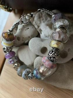 Trollbeads Sterling Foxtail Bracelet with13 Beads, 2 Stoppers & 4 Charms 50g LAA
