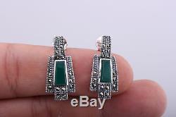 Turkish Handmade Beauty 925K Silver Charm Marcasite Emerald Gemstone Set
