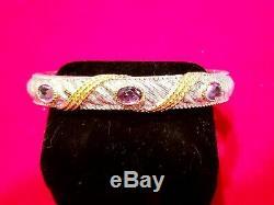 VINTAGE MINT Judith Ripka Sterling Silver/14K Gold BRACELET Amethyst Gems 7