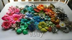 VTG. ENAMEL FLOWER BROOCH/PIN LOT (60+) Beautiful colors and shapes! GORGEOUS