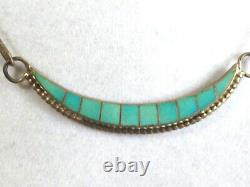 VTG Zuni Artist Bobelu Signed Sterling Silver 925 turquoise inlay necklace 14L