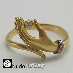 Very Nice Genuine Carrera Y Carrera Hand Ring 18k Diamond Signed Hallmarks