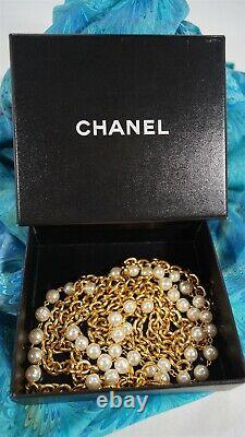 Vintage 1980's CHANEL Gold Chain and Pearl 37 Double Strand Necklace in Box