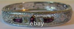 Vintage Beauty Art Deco Faceted Purple Glass Rhinestone Silver Filigree Bracelet