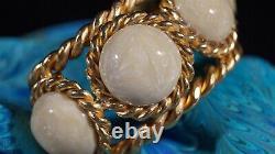 Vintage CHANEL 1987 Gold Tone White Shimmer Gripoix Glass Stone Cuff Bracelet