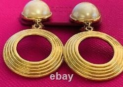 Vintage Givenchy Hoop Earrings Pearl Top Beautiful and Classy