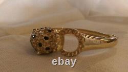 Vintage Rhinestone Jaguar/Cheetah/Cat Rhinestone bangle Bracelet