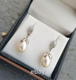 Vintage Style White Gold Pearl & Diamond Drop Earrings, jewellery