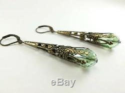 Vintage Women 925 Silver Green Crystar Wedding Jewelry Drop Dangle Hoop Earrings