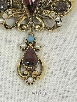 Vtg ART Crown Gold Garnet Brooch Pin Arthur Pepper dangle Marked BEAUTIFUL