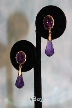 Well crafted Beautiful 14KY Gold Vintage Amythyst Dangle Earrings circa 1920's