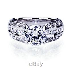 Women 14K White Gold 2 ct CZ Princess CZ Channel Setting Wedding Engagement Ring