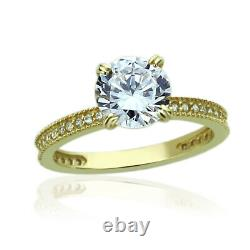 Women 7.5mm 14K Yellow Gold 1.5 Carat Round CZ Solitaire Wedding Engagement Ring