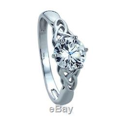 Women 8mm 14K White Gold 1.25 ct CZ Celtic Love Knot Wedding Engagement Ring