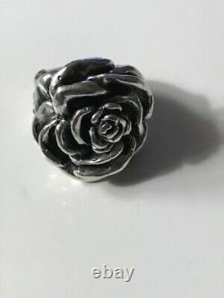 Women's Beautiful King Baby Studio Big Rose Ring 925 Silver Chrome Hearts Size 5
