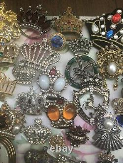 Wow! Beautiful Crown Brooch/Pin Collection! 85 Pieces, Coro Weiss Trifari & More