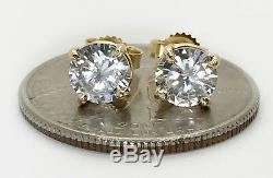 Yellow Gold 14K 6mm Round White CZ Earring Studs Men Women Push Back