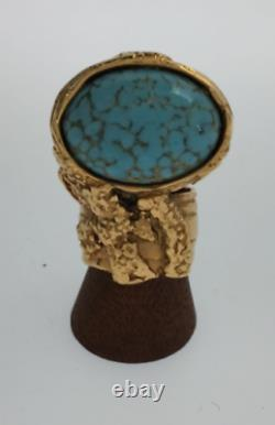 Yves Saint Laurent Arty Ring Color Stone Turquoise Gold Tone