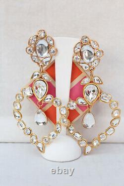 Yves Saint Laurent Elegant clip on earrings with white hearts