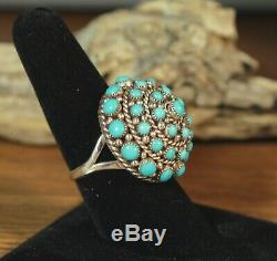 Zuni Sleeping Beauty Turquoise Dome Ring Weebothee Style Dickie Charlie 8-1/4